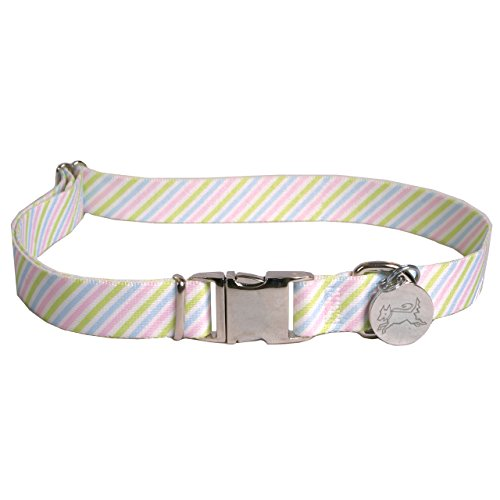 Southern-Dawg-Seersucker-Pink-Blue-Green-Dog-Collar-with-ID-Tag-Medium-34-Neck-14-20-Made-in-the-USA-by-Yellow-Dog-Design