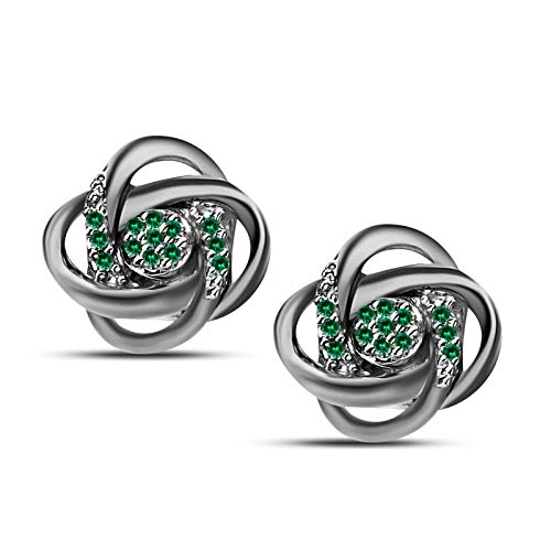 - Gems and Jewels Love Knot Earrings Push Back Alloy 0.45 Ct Round Cut Emerald 14k Black Gold Plated Swirl Small Studs for Women Mother's Day