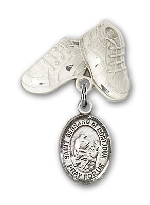 Sterling Silver Baby Badge with St. Bernard of Montjoux Charm and Baby Boots Pin -
