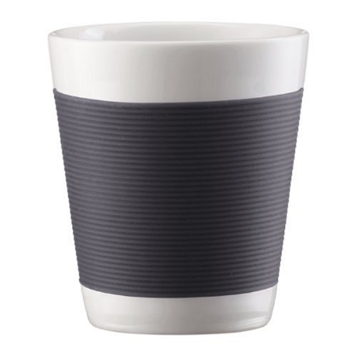 Bodum Canteen Porcelain Double Wall Espresso Cup with Silicone Grip, Gray, Set of 2