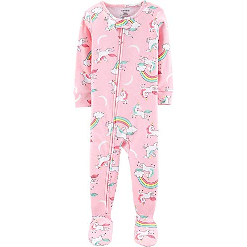 Carter's Girls' 1-Piece Footed Snug Fit Cotton Pajamas (Pink/Unicorns, 5T) -