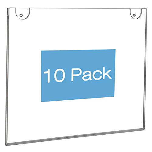 NIUBEE Wall Mount Sign Holder 11 x 8.5 Inch- Clear Acrylic Picture Frame for Paper- Horizontal(10 (Clear Acrylic Wall Mount)
