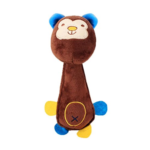 - Pet Plush Toy, OOEOO Funny Animal Puppy Dog Soft Sound Squeaky Chew Toy Teething Gift (Brown Monkey, Free Size)