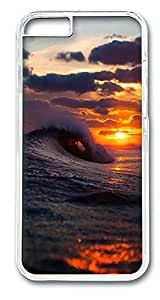 iPhone 6 Cases, Cool Surf Wave Sunset Protective Case with Aesthetic Print Hard Back Cover for iPhone 6(4.7inch)[Scratch-Resistant] [Perfect Fit] [Anti-Slip] [Good Grip] Polycarbonate Plastics Transparent