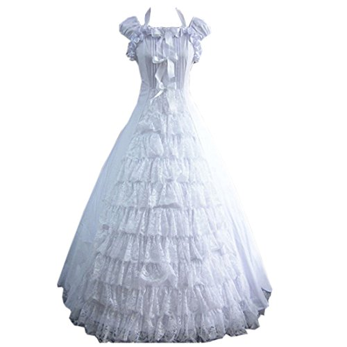 Cozy Age Women's Short Sleeves Bowknot Floor-length Ruffles Party Dress XX-Large,White