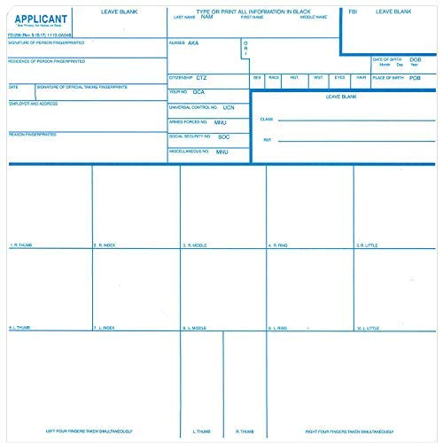 Crime Scene Fingerprint Cards, Applicant FD-258, 1000 Piece by Crime Scene