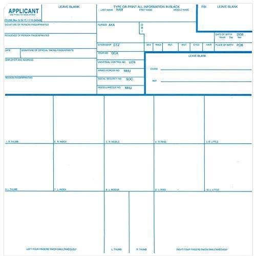 Crime Scene Fingerprint Cards, Applicant FD-258, 1000 Piece