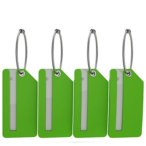 Security Covered Luggage Tag - Small Luggage Tags with Privacy Cover & Metal Loop - (4pk, Green)