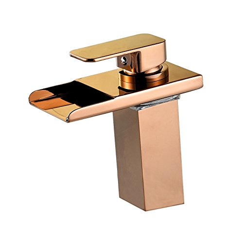 Wovier Rose Gold LED Water Flow Color Changing Waterfall Bathroom Sink Faucet,Single Handle Single Hole Vessel Lavatory Faucet,Basin Mixer Tap - Faucet Kitchen Lavatory