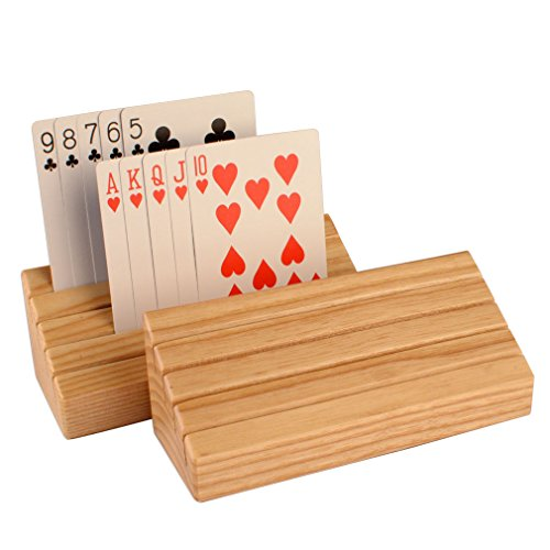 Solid Oak Wood Playing Card Holder / Rack / Organizer - Set of 2