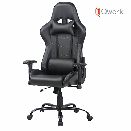 Qwork Gaming Chair High Back Computer Chair With Headrest and Lumbar Support, Ergonomic designs Extremely Durable PU Leather Steel Frame Racing Chair by Qwork