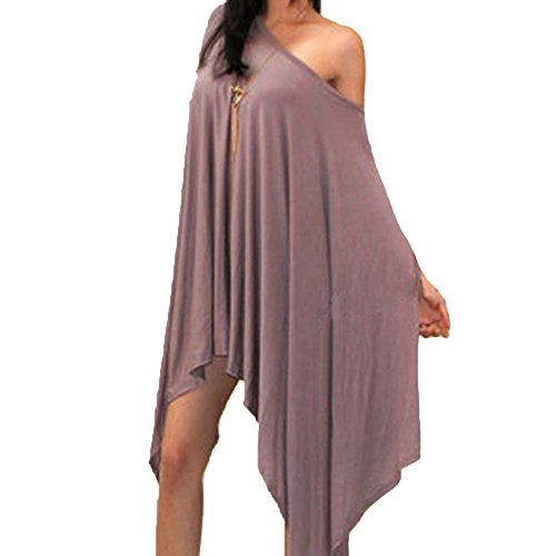 FineLook Womens Oversized Asymmetrical Casual Feminine Short Sleeve Tunic Poncho Cape Top Blouse Shirt (XXL, Apricot)