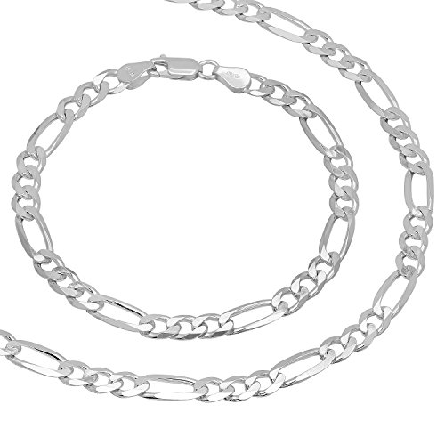 5.5mm 925 Sterling Silver Nickel-Free Figaro Link 30'' Chain & 8'' Bracelet Set + Cleaning Cloth by The Bling Factory