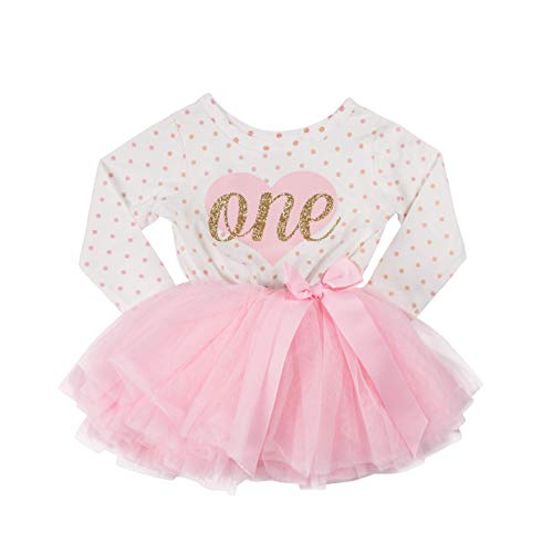 Grace & Lucille Pink Polka Dot Long Sleeve Baby Birthday Dress (Flat Heart Gold, 6-12 Months) -