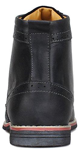 up Brogue Kunsto Boots Classic Leather Black Men's Lace YwqtS6w