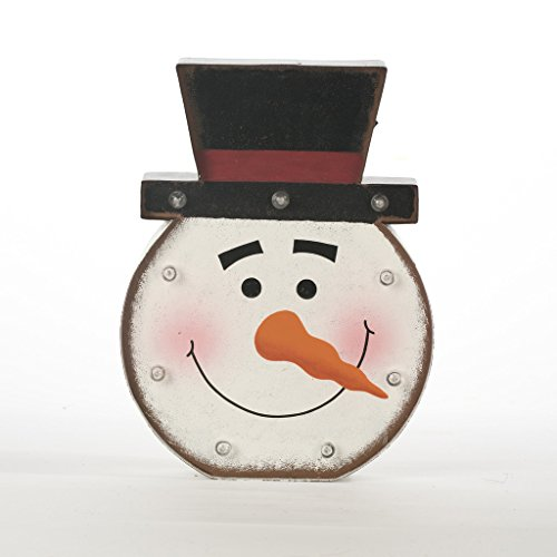 Glitzhome Lighted Snowman Head Marquee Sign, Snowman