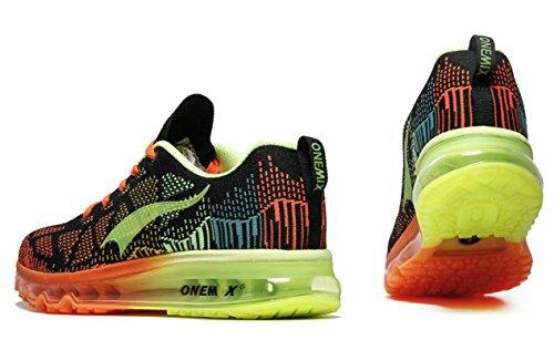 Onemix Air Zapatos para Correr en Montaña y Asfalto Aire Libre y Deportes Zapatillas de Running Padel para Hombre Verde negro