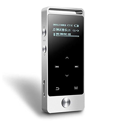 HONGYU S5B 8GB Mini MP3 Player with Bluetooth ,Lossless Sound Touch Button Metal Music Player with FM Radio/Voice Record (Expandable Up to 64GB)-Silver