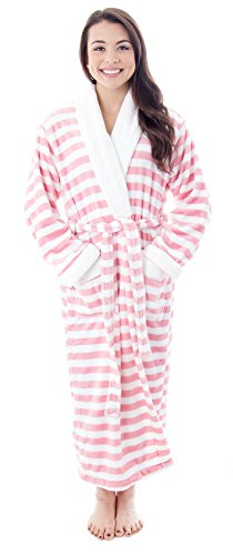 ltra Soft Plush Kimono Bathrobe with Pockets Pink/White stripes, One size (Stripe Kimono Robe)