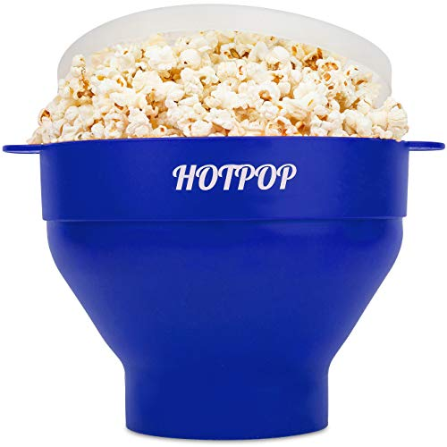 The Original Hotpop Microwave Popcorn Popper, Silicone Popcorn Maker, Collapsible Bowl Bpa Free and Dishwasher Safe - 12 Colors Available (Blue) (Popcorn Maker Gift Set)