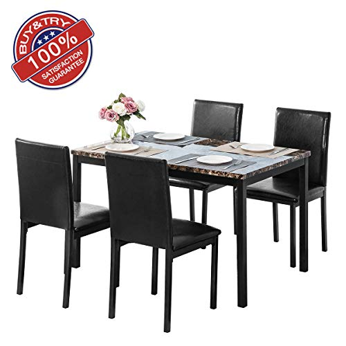 MOOSENG 5 Pieces Dining Table Set, Elegant Faux Mable Desk and 4 Upholstered PU Leather Chairs, Perfect for Bar, Kitchen, Breakfast Nook, Living Room Occasions, Black