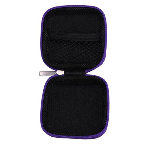 Case For Earphone Earbuds ,Vovomay ard Storage Case Carrying Pouch Bag SD Card Hold Box For Headphones (Purple)