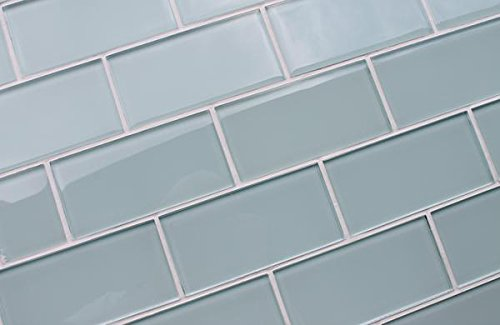 10 Sq Ft - Ice Age Light Blue Green 3x6 Glass Subway Tiles by Rocky Point Tile (Image #3)