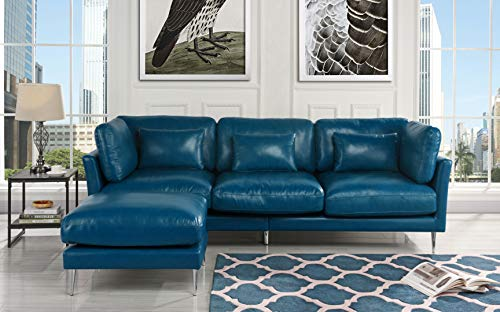 Incroyable Modern Leather Sectional Sofa, L Shape Couch (Navy Blue)