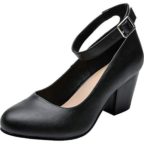 (Luoika Women's Wide Width Heel Pump Shoes - Ankle Buckle Strap Round Closed Toe Dressing Shoes. (Black PU 180320,8.5WW))