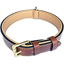 """Soft Touch Collars Padded Leather Dog Collar , Brown Medium, Real Genuine Leather, Best for Male or Female Dogs, 20"""" Inches Long x 1"""" Inch Wide, Fits Neck Size 14.5"""" to 17.5"""""""