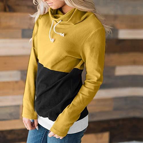 Lady Mujeres Larga Manga Tops Amarillo Top Moda Casual Jumper Block Overdose Sudadera Color Blusa Pullover x7q4wOnR5Y