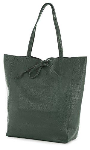 LIATALIA Genuine Italian Soft Leather Leightweight Large Hobo Tote Shopper Shoulder Handbag - ASTRID Deep Green
