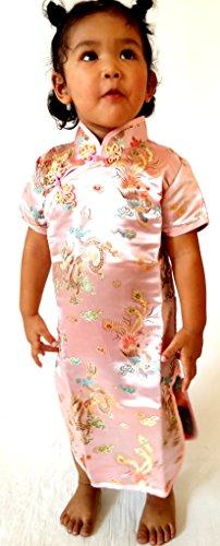 Geisha Girl Pink Costumes (Little Girls' Chinese Geisha Qipao Dress Dragon Costume Cosplay 6 Pink)
