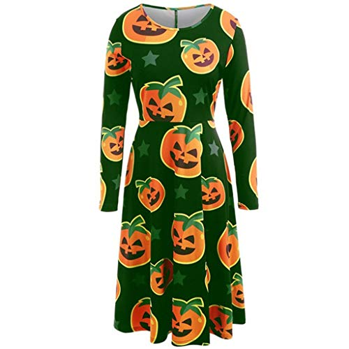 Koolee Womens Halloween Dress Pumpkin Print Party
