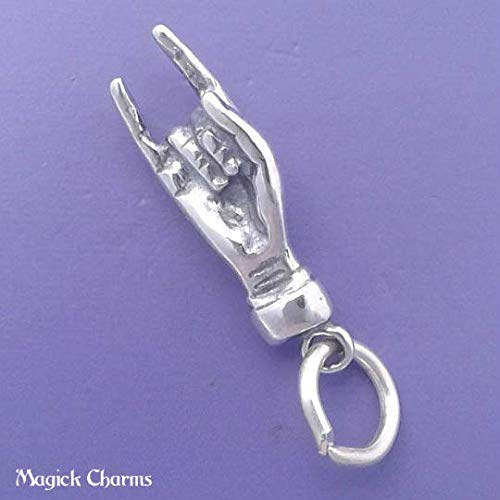 (.925 Sterling Silver Italian Good Luck Hand Mano Cornuto 3D Charm for Pendant Bracelet DIY Jewelry Making Supply by Charm Crazy)