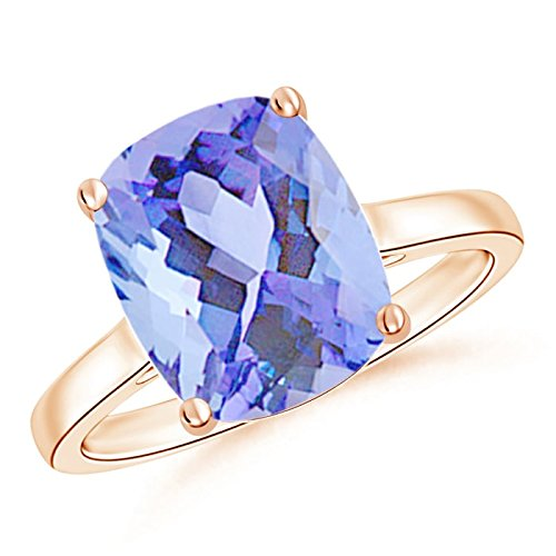 December Birthstone - Classic Cushion Cut Tanzanite Solitaire Engagement Ring for Women in 14K Rose Gold (11x9mm Tanzanite)