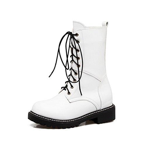 BalaMasa Womens Boots White Heels Calf Square Polypropylene ABL10624 Mid Bandage vvrwqSF