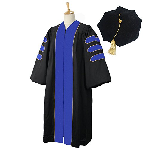 GraduationMall Deluxe Doctoral Graduation Gown Tam Set For Faculty and Professor Phd Blue Velvet With Gold Piping 63(6'6