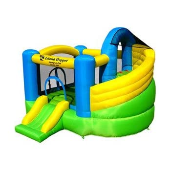 Island Hopper Curved Double Slide Recreational Bounce House