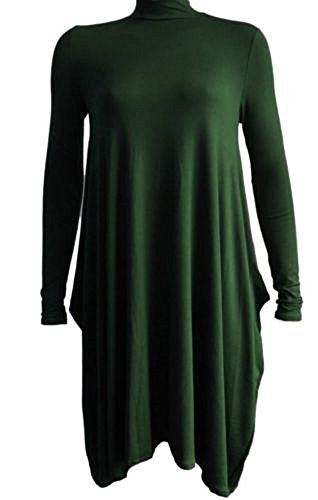 Manches Longues Femme Robe bouteille vert Comfiestyle Patineuse qFE0n