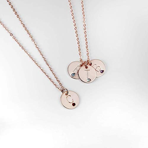 Birthstone Coin Necklace Initial Coin Birthstone Gift Birthday Anniversary Gift for Her Personalized on Sale - CN-RBS ()