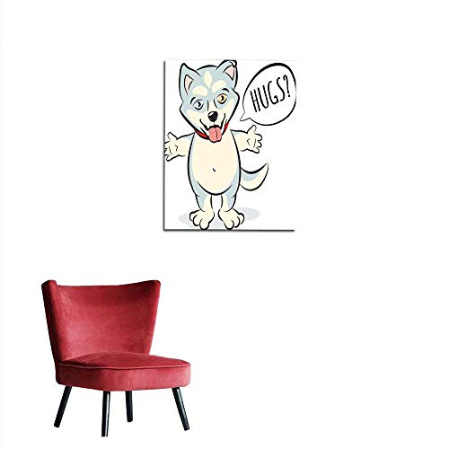 longbuyer Poster Wall Decor Husky Puppy Character Standing and offering to Hug Mural 16