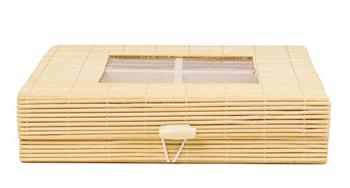 Bamboo Snack Basket Tray Organizer with Clear Lid Window - 8