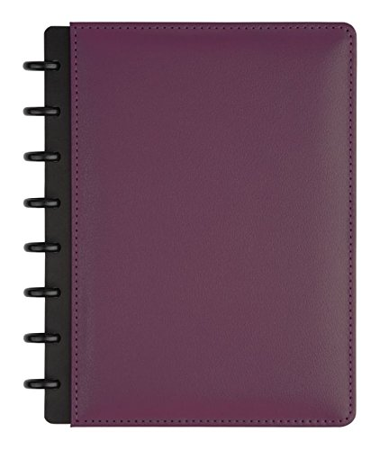 (TUL Custom Note-Taking System Discbound Notebook, Junior Size, Leather Cover, Purple)
