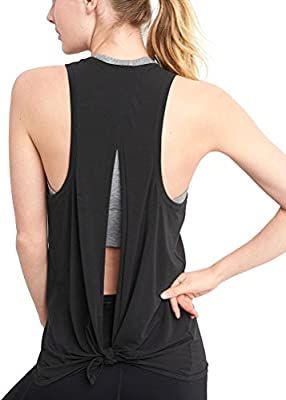 Mippo Women's Open Back Yoga Shirt Workout Racerback Tie Back Active Tank Tops