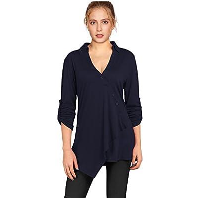 A Blues Man Women's V Neck Button Neckline Blouse Henley Shirt Roll-Up Sleeve Casual irregularity Hem Tunic Tops hot sale