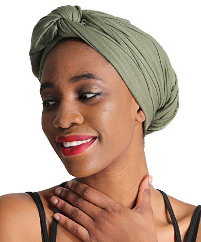 Women Head Wrap Scarf - Green Satin Silk Hair Wrap,Stretch Jersey Knit Black African Long Turbans Hat Hijab,Hair Ties,Hair Muslim Bohemian Boho Headband