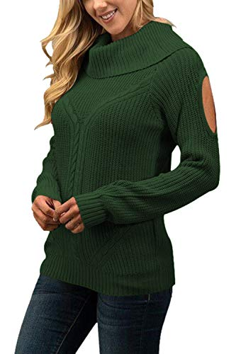 Sovoyontee Women Wide Mock Neck Open Shoulder Sweater Green -
