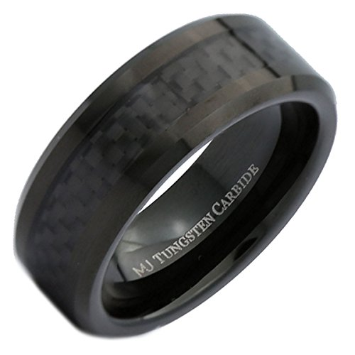 MJ Metals Jewelry 8mm Black Tungsten Carbide Wedding Band Checkered Carbon Fiber Inlay Ring Size 8.5 Checkered Band Ring