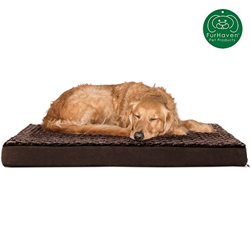 Furhaven Pet Dog Bed | Deluxe Orthopedic Mat Ultra Plush Faux Fur Traditional Foam Mattress Pet Bed for Dogs & Cats, Chocolate, Large